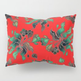 Vintage floral seamless pattern with hand drawn flowering crocus on the red background Pillow Sham