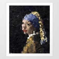 Pixelated Girl with a Pearl Earring Art Print