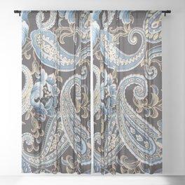 Blue Brown Vintage Paisley Sheer Curtain