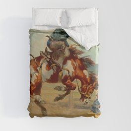 """Pitching Pony"" by Oleg Wieghorst Duvet Cover"