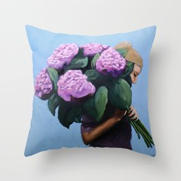 Posy IV / Summer Blooms Throw Pillow