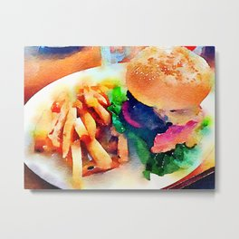 Burger and Chips Metal Print
