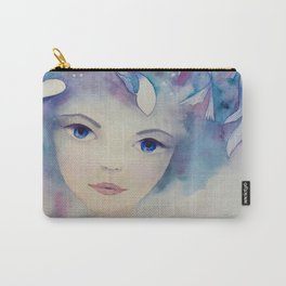 Watercolor girl with fish in the water portrait Carry-All Pouch