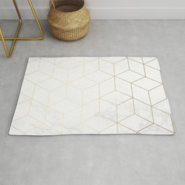 Gold Geometric White Mable Cubes Rug
