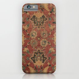 Flowery Boho Rug V // 17th Century Distressed Colorful Red Navy Blue Burlap Tan Ornate Accent Patter iPhone Case