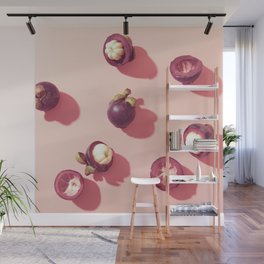Mangosteens in pink Wall Mural