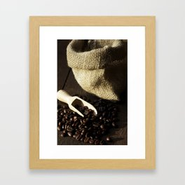 Coffeebeans and jute Framed Art Print