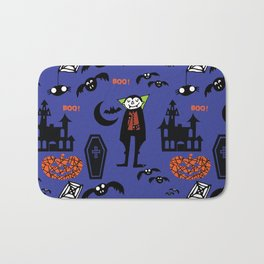 Cute Dracula and friends blue #halloween Bath Mat