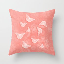 A flutter of butterflies on peach mandala patterns Throw Pillow