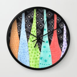 Six Hanging patterned sculptures Wall Clock