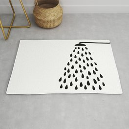 Shower drops with feucet on the right side Rug