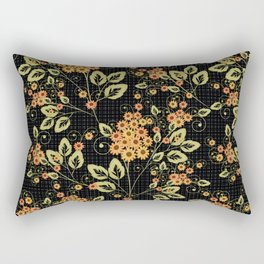 Bright floral pattern on a black background. Rectangular Pillow