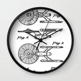Startrek Uss Enterprise Patent - Trek Art - Black And White Wall Clock