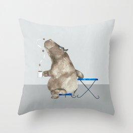 cofffee time hippo Throw Pillow