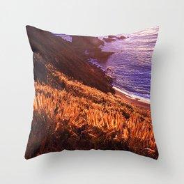 Coastal Cliff In Big Sur, California At Sunset Throw Pillow