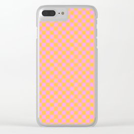 Pink and Orange Checker Clear iPhone Case