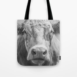 Animal Photography | Cow Portrait Black and White | Farm Animals Tote Bag
