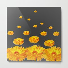 FLOATING YELLOW FLOWERS CHARCOAL GREY Metal Print