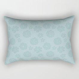 Succulent Blue Rosettes - Organic Pattern - Floral Line Drawing Rectangular Pillow