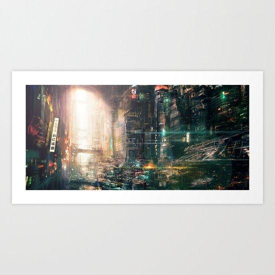 Sci fi china town Art Print