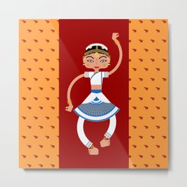 Dancer with indian elephants Metal Print