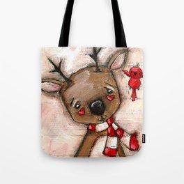 Red Bird and Reindeer - Christmas Holiday Art Tote Bag