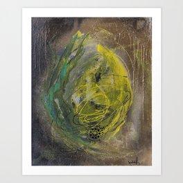 Lime spray painting on canvas, handmade Art Print