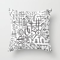 writing Throw Pillows featuring ALIEN WRITING by Matthew Taylor Wilson