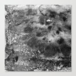 watercolor texture. Grunge paper template. Wet paper. Blobs, stain, paints blot. Gray-scale watercol Canvas Print