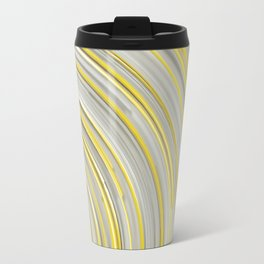 Glowing yellow concentric spirals on white Travel Mug