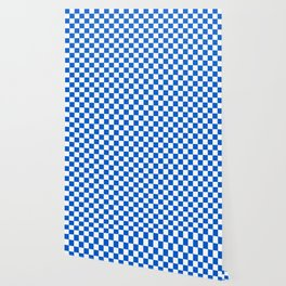Gingham Brilliant Blue Checked Pattern Wallpaper