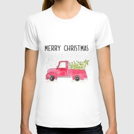 Red Truck with christmas tree T-shirt
