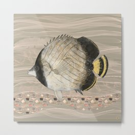Butterfly Fish in Neutral Earth Tones Watercolor Metal Print