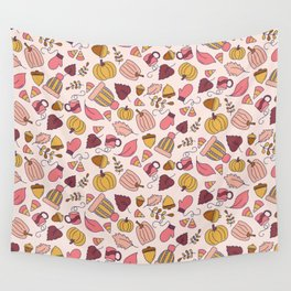 Fall Leaves + Cozy Mittens Pattern Wall Tapestry