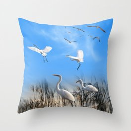 White Egrets in a Morning 1 Throw Pillow