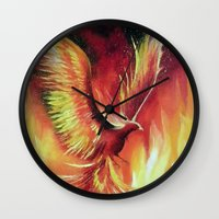 phoenix Wall Clocks featuring phoenix by OLHADARCHUK