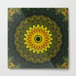 Large Yellow Wildflower Kaleidoscope Art 5 Metal Print