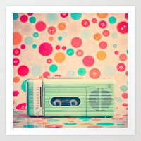 radio Art Prints featuring Radio Dots  by Caroline Mint