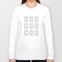 rabbits Long Sleeve T-shirts featuring Pink Rabbits by Elle Moz