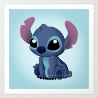 chibi Art Prints featuring Chibi Stitch by Katie Simpson a.k.a. Redhead-K
