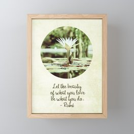 Zen Flower Water Lily With Inspirational Rumi Quote Framed Mini Art Print
