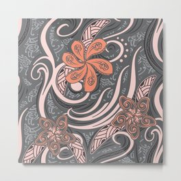Polynesian Pink Tribal Print Metal Print