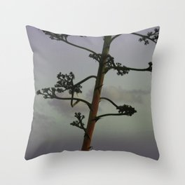 Agave flower stalk and clouds Throw Pillow