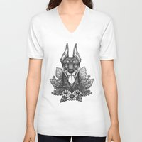 doberman V-neck T-shirts featuring Doberman & Daisies by Britt Sorensen