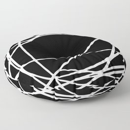Black and White Circles and Swirls Modern Abstract Floor Pillow
