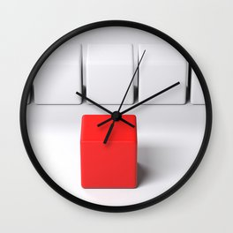 Line of white cubes in front of a red one - 3D rendering Wall Clock