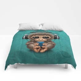 Cute Baby Monkey With Cell Phone Wearing Headphones Blue Comforters