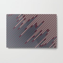 Deep Purple Aqua Pink-Purple Diagonal Line Pattern 2021 Color of the Year Epoch and Accent Shades Metal Print