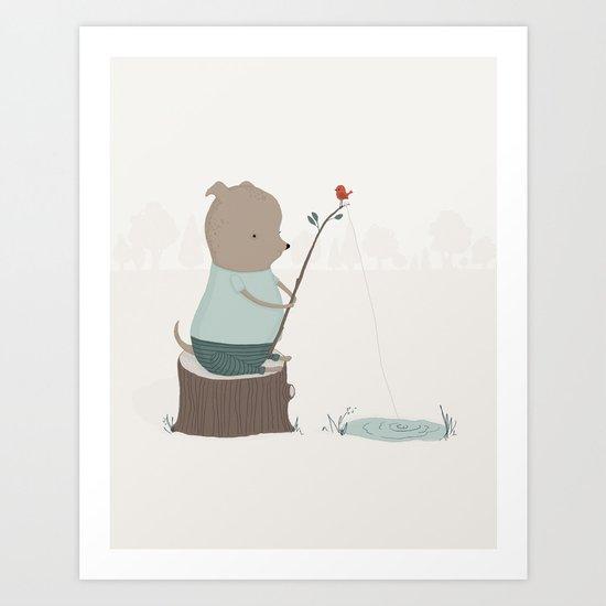 Oliver Goes Fishing Art Print