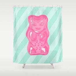 Pink Gummi Bear on Mint Background Shower Curtain